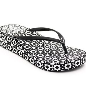 TORY BURCH Thandie Wedge Flip Flop Sandals